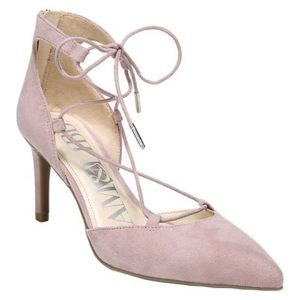 Sam & Libby Heels Suede Lace Up Zip Back Pink 7.5